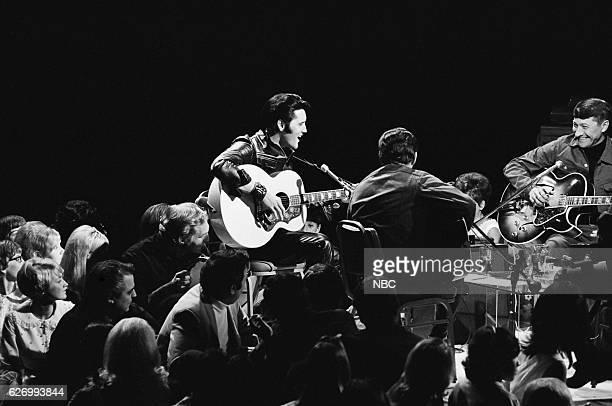 '68 COMEBACK SPECIAL Pictured Elvis Presley guitarist Charlie Hodge guitarist Scotty Moore during his '68 Comeback Special on NBC