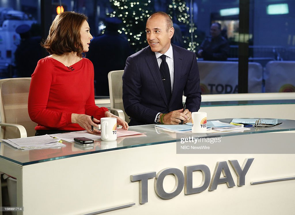 Erica Hill and <a gi-track='captionPersonalityLinkClicked' href=/galleries/search?phrase=Matt+Lauer&family=editorial&specificpeople=206146 ng-click='$event.stopPropagation()'>Matt Lauer</a> appear on NBC News' 'Today' show --