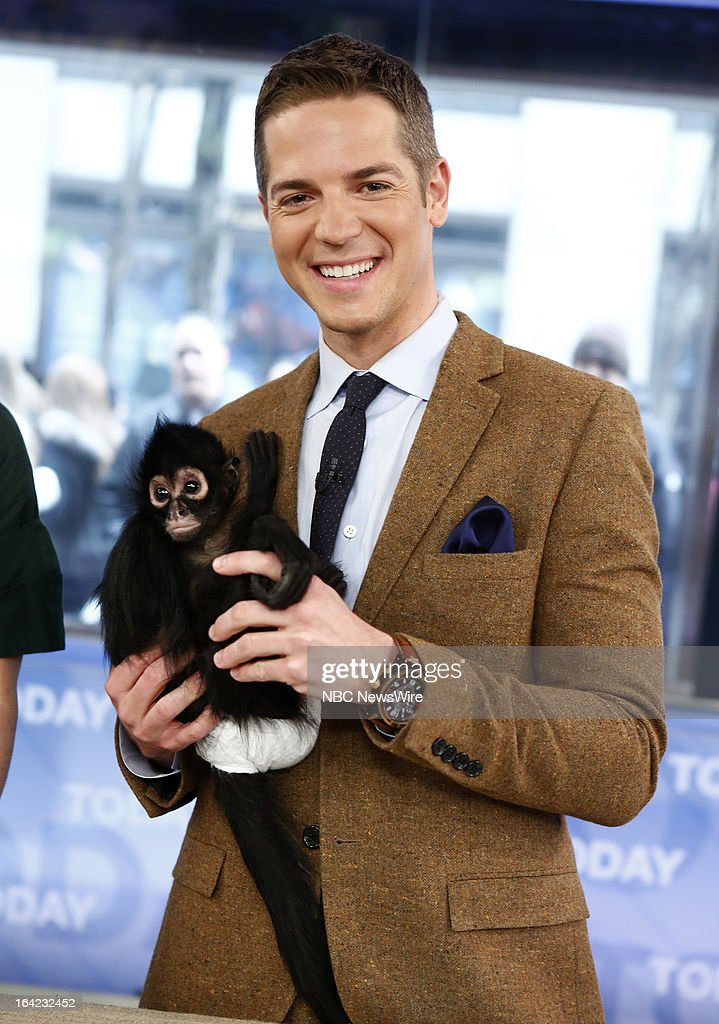 E!'s Jason Kennedy with Bella the spider monkey appears on NBC News' 'Today' show on March 21, 2013 --