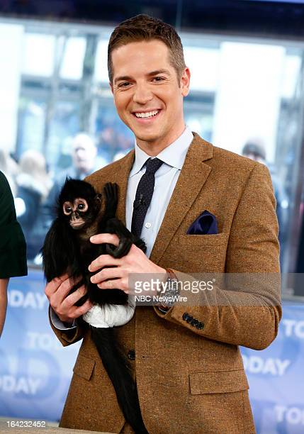 E's Jason Kennedy with Bella the spider monkey appears on NBC News' 'Today' show on March 21 2013