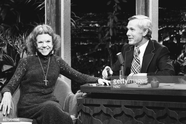 Evangelist Katheryn Kuhlman during an interview with host Johnny Carson on October 15th 1972