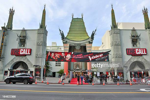 Exterior of the TCL Chinese Theatre in Hollywood CA during the Season 4 premiere screening of The Voice on Monday March 25