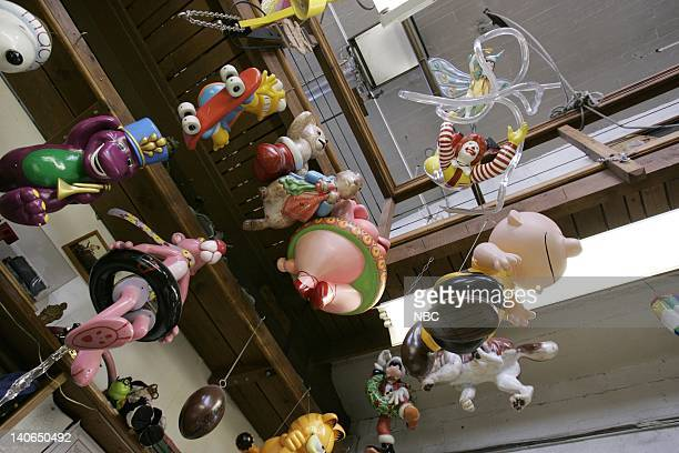 S 78TH THANKSGIVING DAY PARADE Pictured Final painted models of previous balloons hang on display on Preview Day at Macy's Studios in Hoboken NJ...