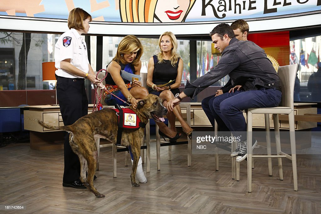 Firehouse dog Dempsey, trainer Eileen Orban, Hoda Kotb, Kathie Lee Gifford, Jesse Spencer, and Taylor Kinney appear on NBC News' 'Today' show --