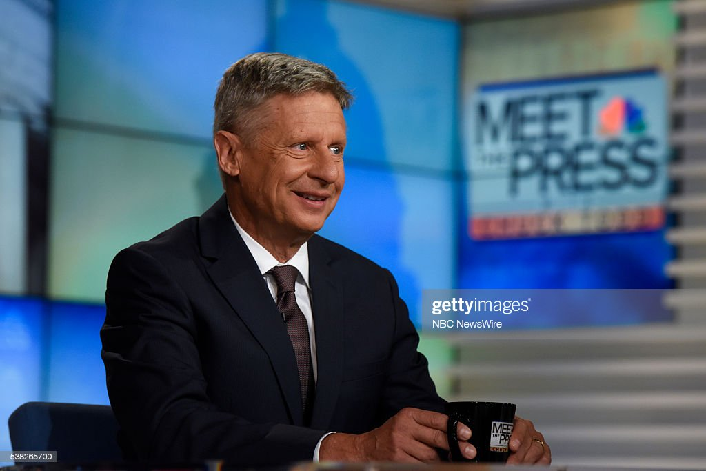 Former New Mexico Gov Gary Johnson and Presidential Nominee for the Libertarian Party appears on 'Meet the Press' in Washington DC Sunday June 6 2016