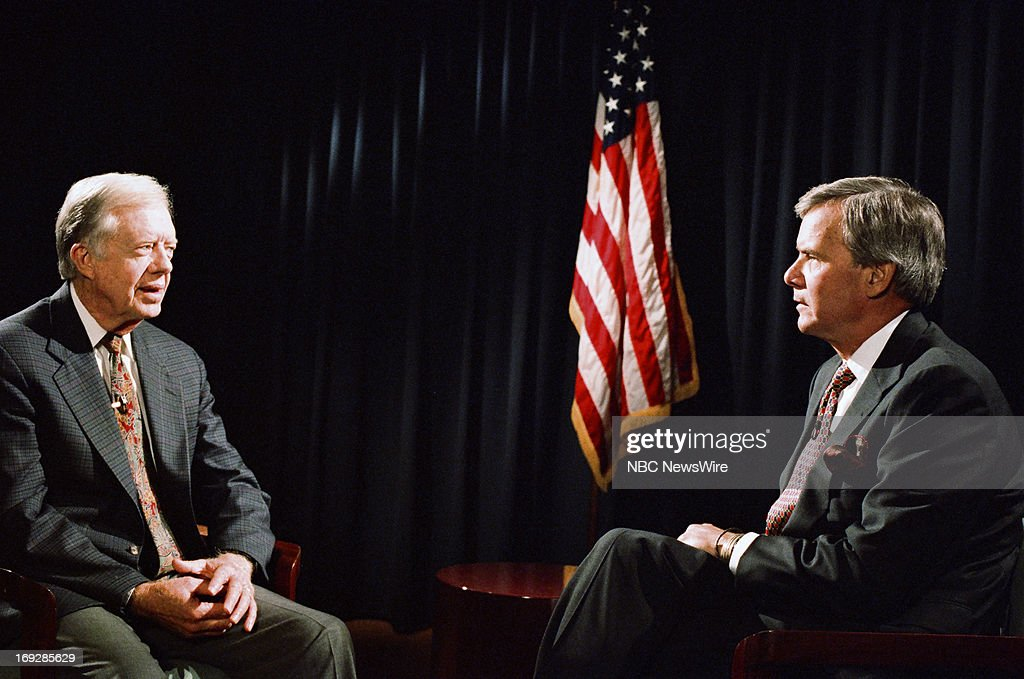 Former President Jimmy Carter, NBC News' Tom Brokaw during an inteview in the 1990s --
