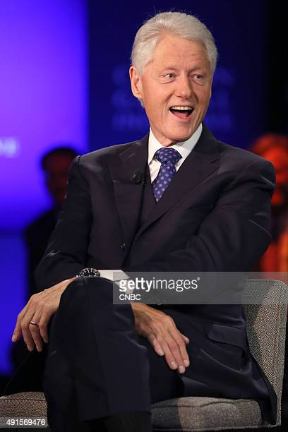 Former US President Bill Clinton at the Clinton Global Initiative Annual Meeting in New York City on September 29 2015