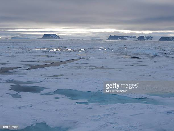 Franz Josef Land Archipelago or cluster of islands located far north of Russia seen from aboard the Russian nuclear powered icebreaker Yamal...