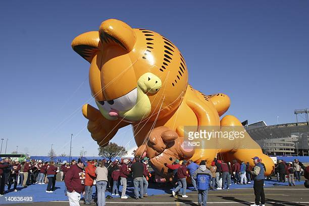 S 77TH THANKSGIVING DAY PARADE Pictured Garfield and Pooky Bear balloon Inflation at Giants Stadium in East Rutherford NJ prior to the 2003 Macy's...