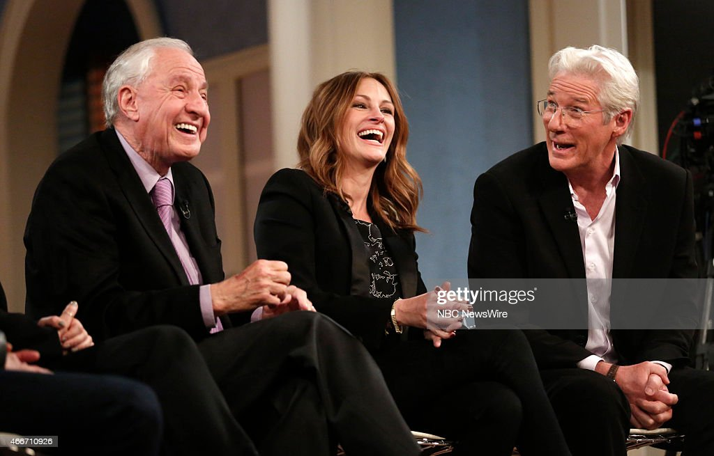 Garry Marshall, <a gi-track='captionPersonalityLinkClicked' href=/galleries/search?phrase=Julia+Roberts&family=editorial&specificpeople=202605 ng-click='$event.stopPropagation()'>Julia Roberts</a> and <a gi-track='captionPersonalityLinkClicked' href=/galleries/search?phrase=Richard+Gere&family=editorial&specificpeople=202110 ng-click='$event.stopPropagation()'>Richard Gere</a> appear on NBC News' 'Today' show --