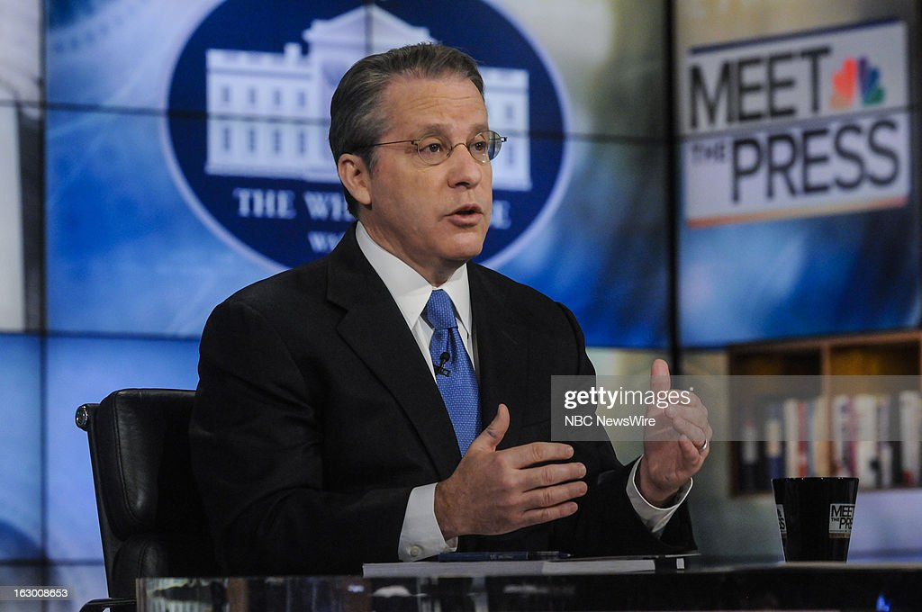 – Gene Sperling, Director of the National Economic Council, left, and moderator David Gregory, right, appear on 'Meet the Press' in Washington D.C., Sunday, March 3, 2013.