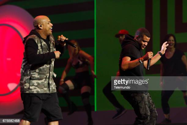 Gente de Zona performs during rehearsals at the Watsco Center in the University of Miami Coral Gables Florida on April 26 2017