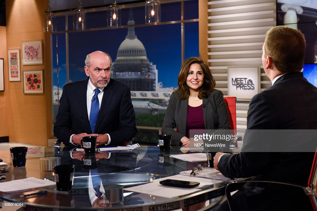 Gerald Seib, Washington Bureau Chief, The Wall Street Journal, left, Neera Tanden, President, Center for American Progress, and moderator Chuck Todd appear on 'Meet the Press' in Washington, D.C., Sunday May 29, 2016.