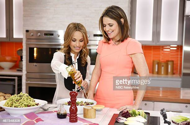 Giada de Laurentiis and Savannah Guthrie appear during a cooking segment on NBC News' 'Today' show