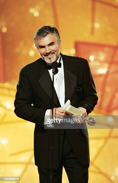 Golden Globe winner for best performance by an Actor In A Supporting Role 'Boogie Nights' Burt Reynolds on stage during the 55th Annual Golden Globe...