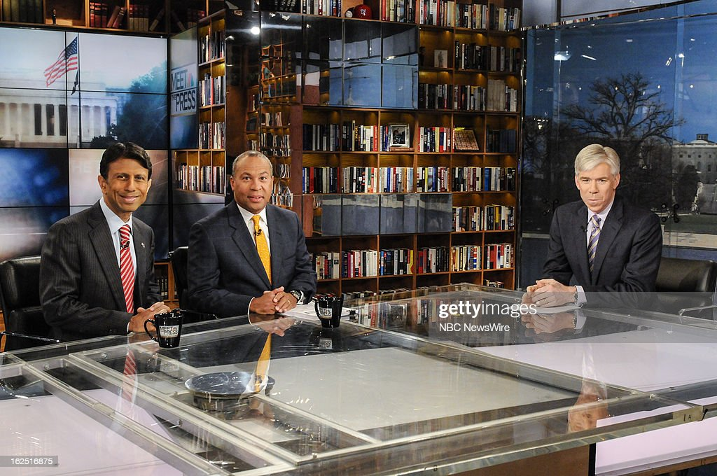 – Gov. Bobby Jindal (R-LA) left, Gov. Deval Patrick (D-MA) center, and moderator David Gregory, right, appear on 'Meet the Press' in Washington D.C., Sunday, Feb. 24, 2013.