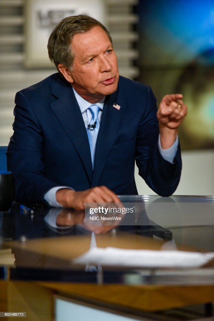 Gov. John Kasich (R-Ohio) appears on 'Meet the Press' in Washington, D.C., Sunday, March 12, 2017.