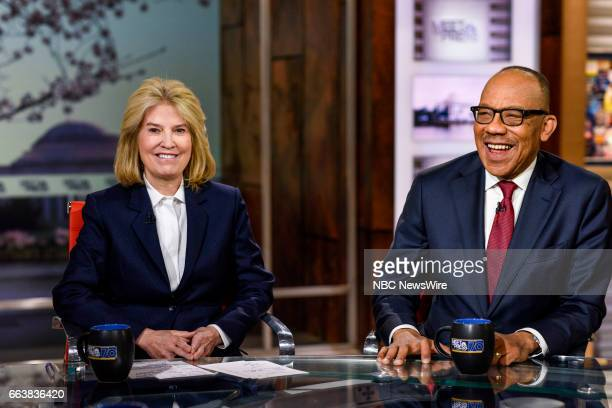Greta Van Susteren Host MSNBCs For the Record and Eugene Robinson Columnist The Washington Post appear on 'Meet the Press' in Washington DC Sunday...