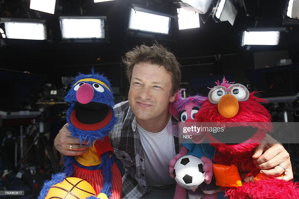 Grover, Jamie Oliver, Abby, Elmo on August 9, 2012 --