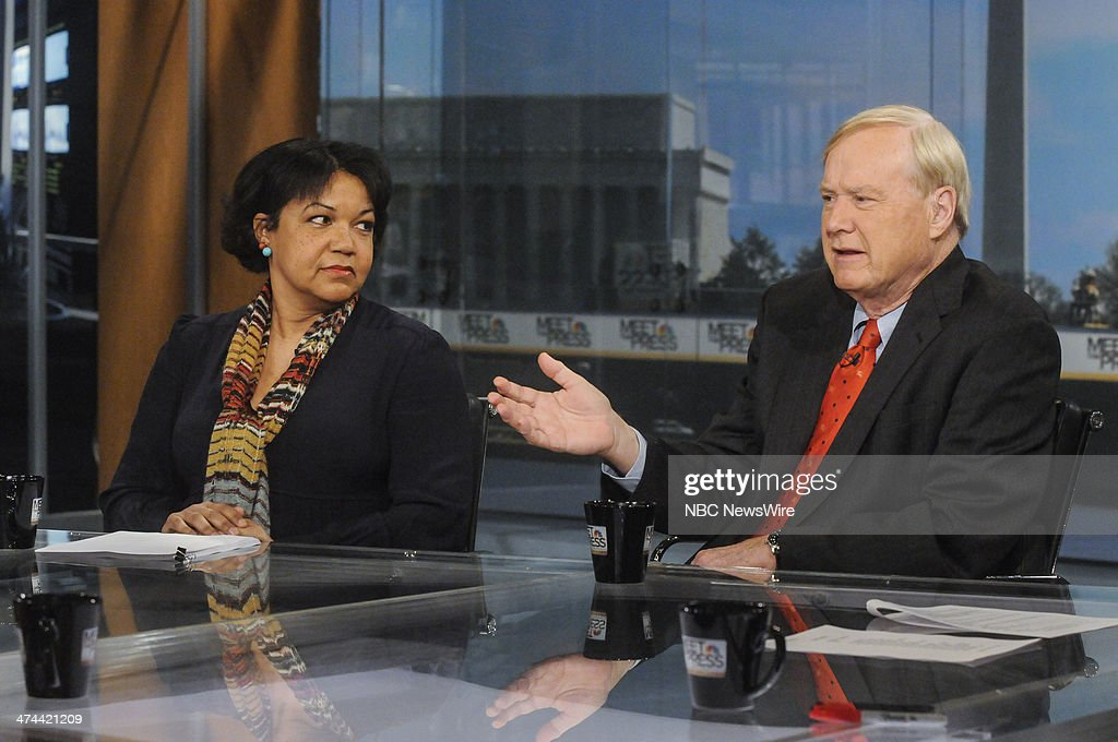 Helene Cooper, New York Times White House Correspondent, left, and Chris Matthews, Host of MSNBCs Hardball,' right, appear on 'Meet the Press' in Washington, D.C., Sunday, Feb. 23, 2014.