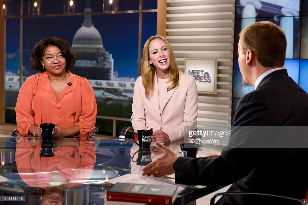 Helene Cooper, Pentagon Correspondent, The New York Times, Kimberley Strassel, Columnist, The Wall Street Journal, and moderator Chuck Todd appear on 'Meet the Press' in Washington, D.C., Sunday June 26, 2016.