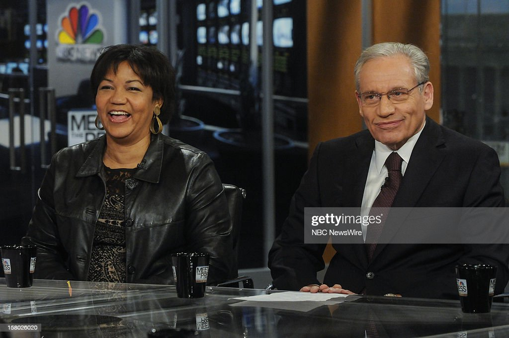 – Helene Cooper, White House Correspondent, The New York Times, left, and Bob Woodward, Associate Editor, The Washington Post, right, appear on 'Meet the Press' in Washington D.C., Sunday, Dec. 9, 2012.