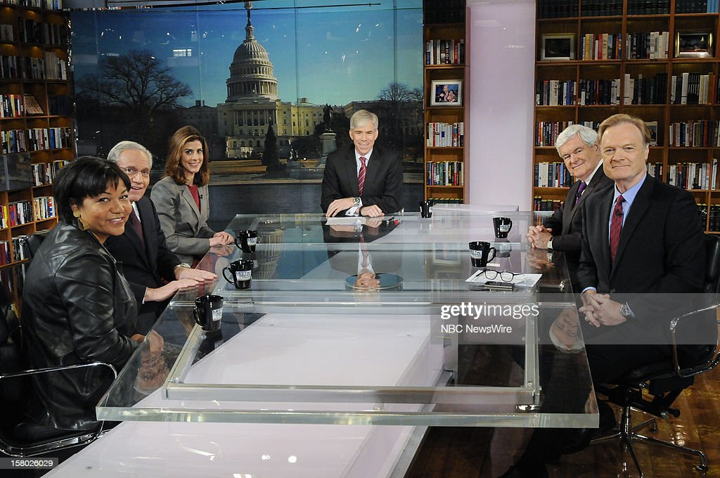 """– Helene Cooper, White House Correspondent, The New York Times, Bob Woodward, Associate Editor, The Washington Post, Julianna Goldman, White House Correspondent, Bloomberg News, moderator David Gregory, Newt Gingrich, Former Speaker of the House, and Lawrence O'Donnell, Host, MSNBC's """"The Last Word with Lawrence O'Donnell"""" appear on 'Meet the Press' in Washington D.C., Sunday, Dec. 9, 2012."""