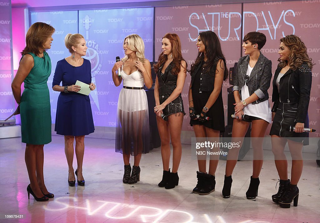 Hoda Kotb and Kathie Lee Gifford talk with Mollie King, Una Healy, Rochelle Humes, Frankie Sandford and Vanessa White of The Saturdays on NBC News' 'Today' show --