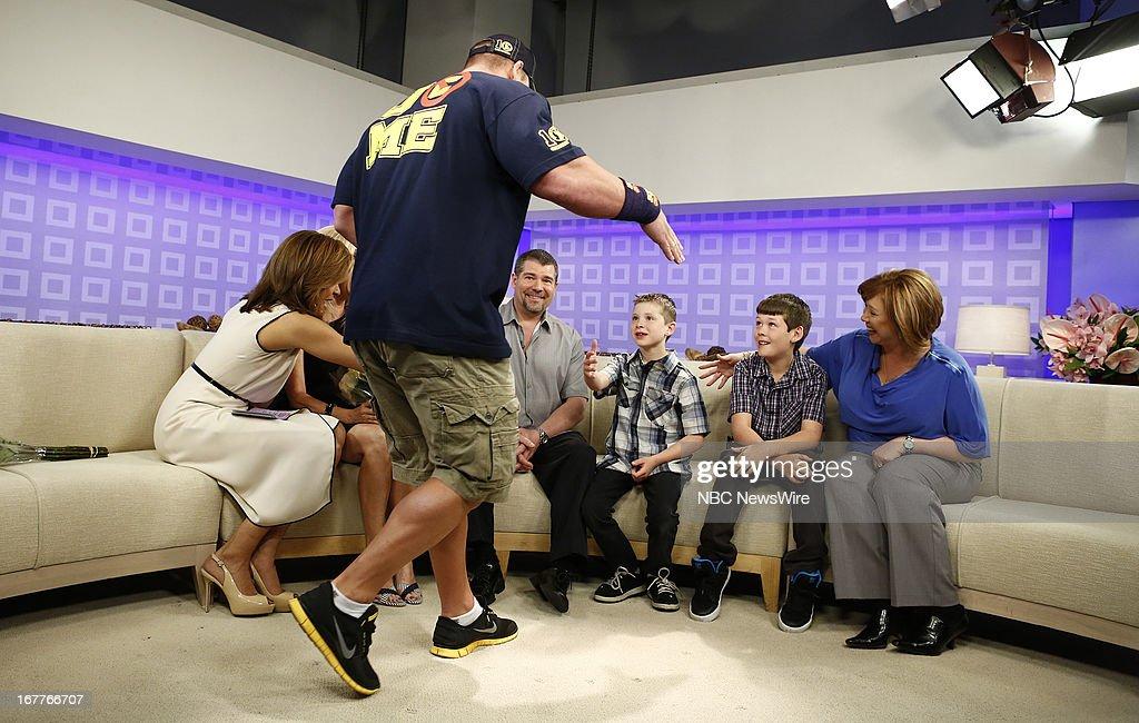 Hoda Kotb, John Cena, Mark Santillo, Nick Santillo, Dominick Santillo and Victoria Santillo appear on NBC News' 'Today' show --