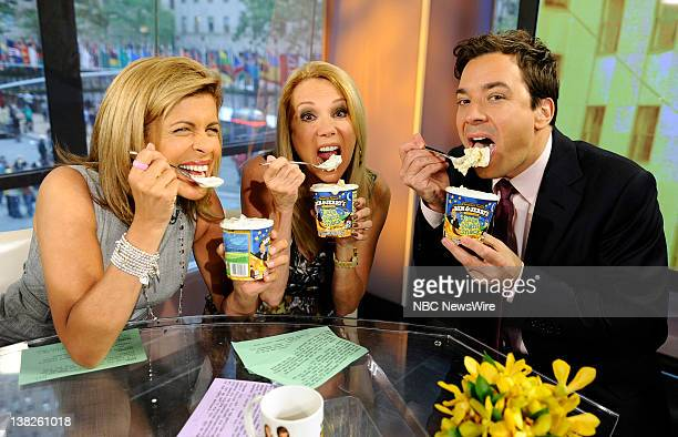 Hoda Kotb Kathie Lee Gifford and Jimmy Fallon appear on NBC News' 'Today' show