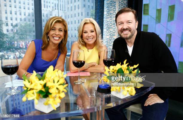 Hoda Kotb Kathie Lee Gifford and Ricky Gervais appear on NBC News' 'Today' show