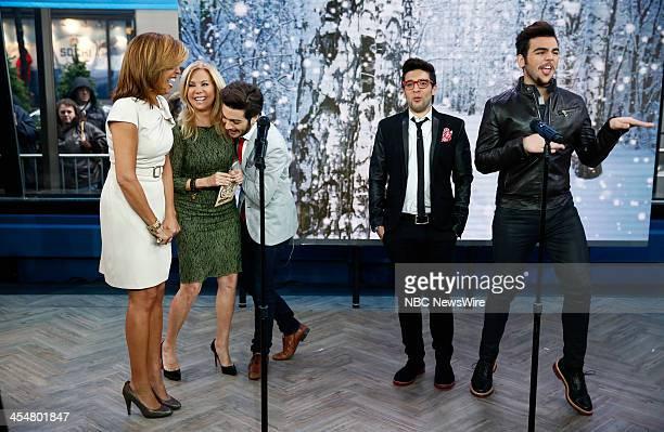 Hoda Kotb Kathie Lee Gifford Gianluca Ginoble Piero Barone and Ignazio Boschetto of Il Volo appear on NBC News' 'Today' show