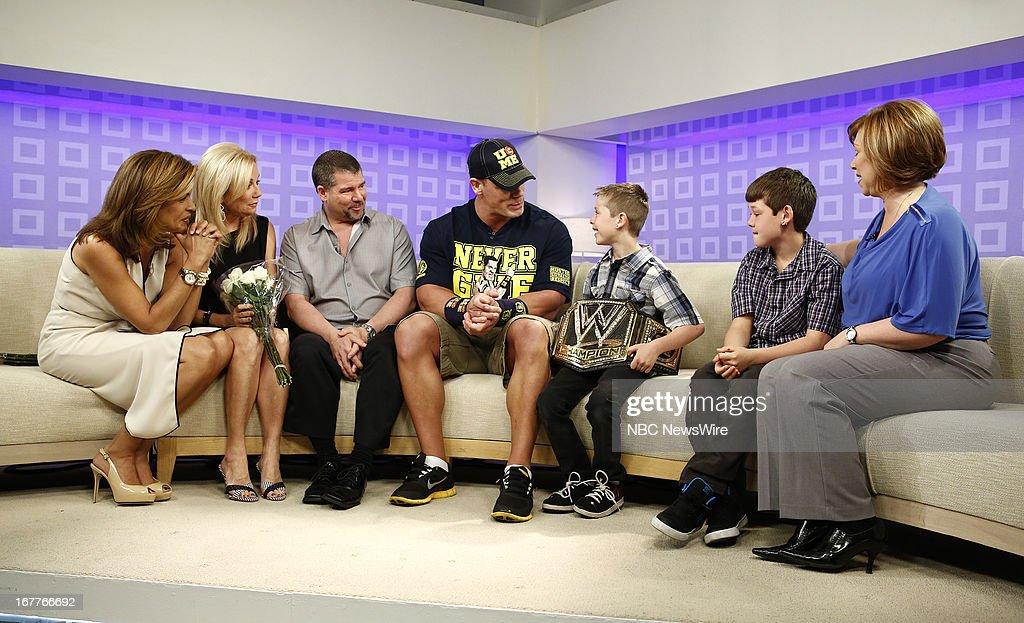 Hoda Kotb, Kathie Lee Gifford, Mark Santillo, John Cena, Nick Santillo, Dominick Santillo and Victoria Santillo appear on NBC News' 'Today' show --