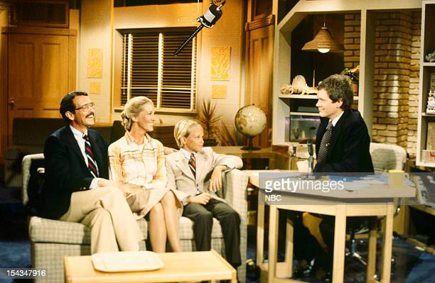 Host David Letterman with guests