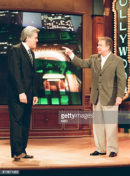 Host Jay Leno and TV personality Regis Philbin on April 2 1998
