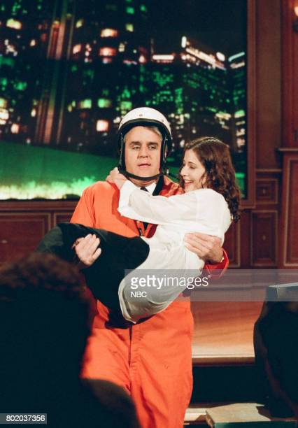 Host Jay Leno during 'Jay Rescues Audience Member' segment on February 23 1998