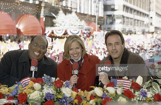 Hosts Al Roker Katie Couric Matt Lauer during the 2001 Macy's Thanksgiving Day Parade Photo by Eric Liebowitz/NBCU Photo Bank