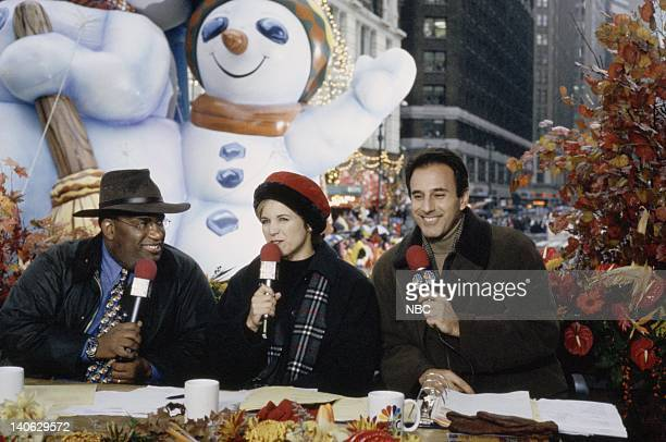 Hosts Al Roker Katie Couric Matt Lauer snowman balloon during the 1998 Macy's Thanksgiving Day Parade Photo by NBCU Photo Bank
