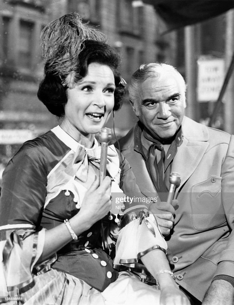 Hosts Betty White, Lorne Greene during the 1967 Macy's Thanksgiving Day Parade