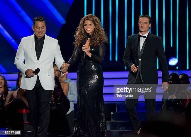 Hosts Daniel Sarcos Ana Barbara and Juan Soler for the 2013 Billboard Latin Music Awards held at the BankUnited Center University of Miami in Miami...