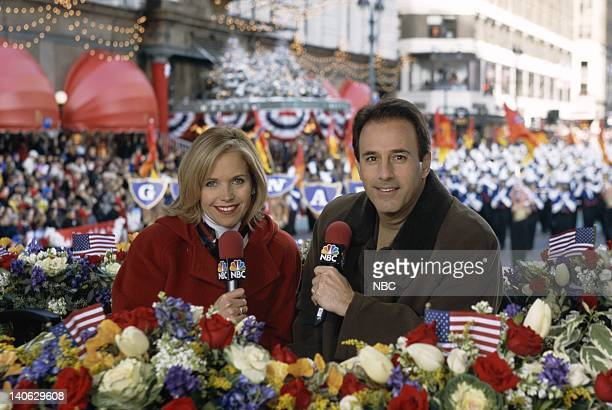 Hosts Katie Couric Matt Lauer during the 2001 Macy's Thanksgiving Day Parade Photo by Eric Liebowitz/NBCU Photo Bank