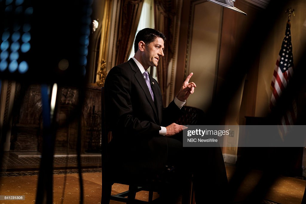 House Speaker Paul Ryan is pictured at the US Capitol on 'Meet the Press' in Washington DC Thursday June 16 2016