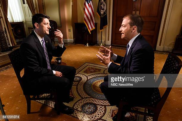 House Speaker Paul Ryan left and moderator Chuck Todd right are pictured at the US Capitol on 'Meet the Press' in Washington DC Thursday June 16 2016