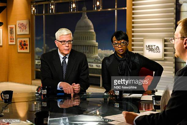 Hugh Hewitt Host The Hugh Hewitt Show' Nina Turner Former Ohio State Senator and moderator Chuck Todd appear on 'Meet the Press' in Washington DC...