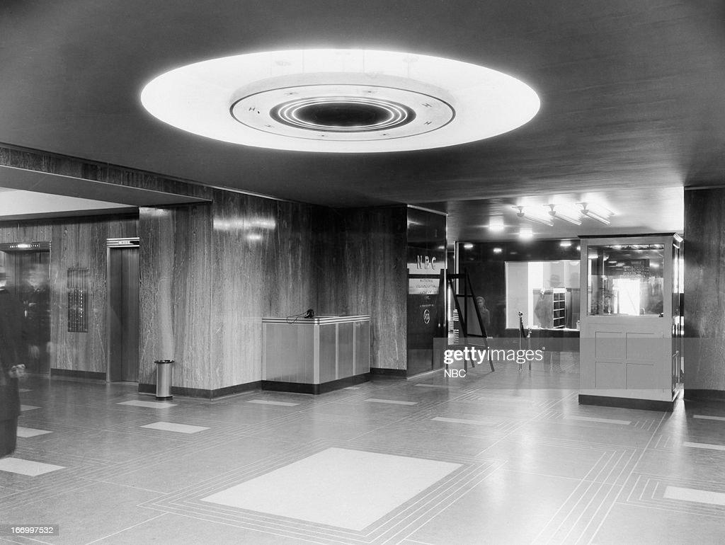 Interior of lobby at NBC Studios Radio City located at Rockefeller Center in New York, NY c. 1930s-1940s --