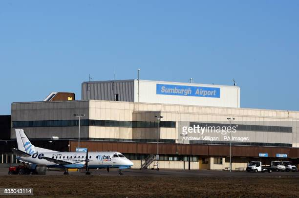 Pictured is a general view of a Fly Be plane on the tarmac at Sumburgh airport on Shetland Isle
