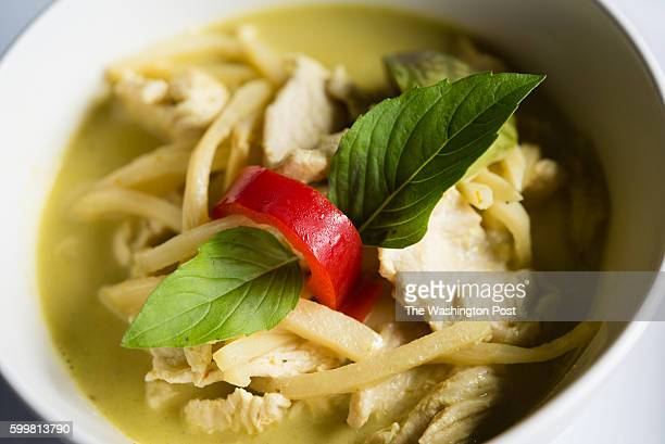 Pictured is Green Curry with Chicken $10 Thai spices and herbs blended with hot green chillies thai eggplant bamboo shoots bell peppers and basil...