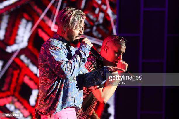 J Balvin and Bad Bunny perform during rehearsals at the Watsco Center in the University of Miami Coral Gables Florida on April 25 2017