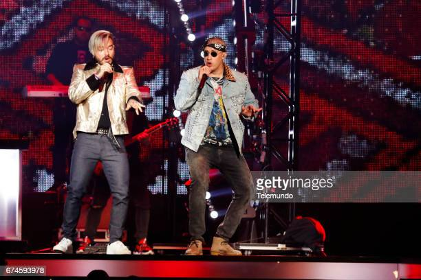 J Balvin and Bad Bunny perform on stage at the Watsco Center in the University of Miami Coral Gables Florida on April 27 2017