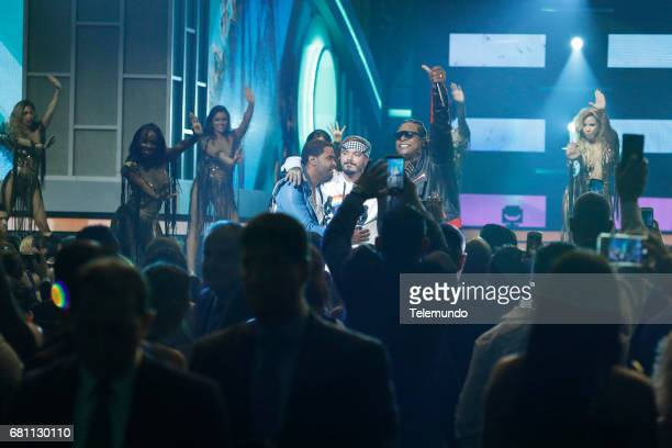 J Balvin and Zion y Lennox perform on stage at the Watsco Center in the University of Miami Coral Gables Florida on April 27 2017